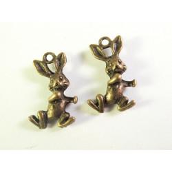 2x bronze Hase / Osterhase Anhänger ca. 19x11x5mm bronzefarbener Schmuckanhänger - bronze Schmuckzubehör