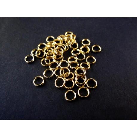 50x Spaltring 5mm vergoldet rund goldfarben - Schmuckzubehör