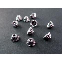 10x kleine Perlenkappen ca. 6x4mm silberfarbene Perlen Kappen - Schmuckzubehör