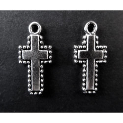 2x Kreuz Anhänger ca. 20x10mm Kruzifix silberfarben Schmuckanhänger - Schmuckzubehör
