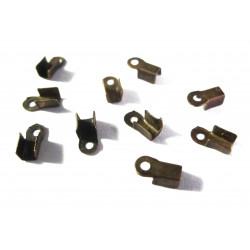 10x Endkappe 6x3mm bronzefarbenes Quetschröhrchen bzw. Bandklemme - Schmuckzubehör