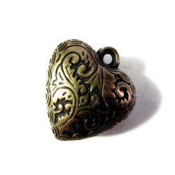 1x Dicker bronze Herz Anhänger ca. 25x24mm bronzefarben Schmuckanhänger- bronze Schmuckzubehör