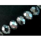 10x Silber geschliffene Kristallglasperlen 6x4mm - Schmuckzubehör