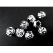 8x hellsilberarbene Acryl Perlen 8mm Rosenform Grosslochperle - Acryl Schmuckzubehör