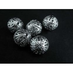 5x filigrane Metallperlen 10mm silberfarben Kugel Spacer - Schmuckzubehör