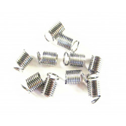 10x hellsilber Spiralendkappe 10x4,5mm platinfarbene Endkappe - Schmuckzubehör