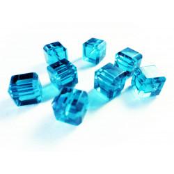 8x türkis Kristallglas Würfel Perlen mit geschliffener Kante 10x10mm - Glasschmuck Schmuckzubehör