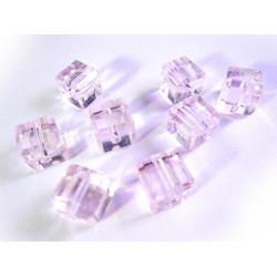 8x Rosa Kristallglas Würfel Perlen mit geschliffener Kante 10x10mm - Glasschmuck Schmuckzubehör