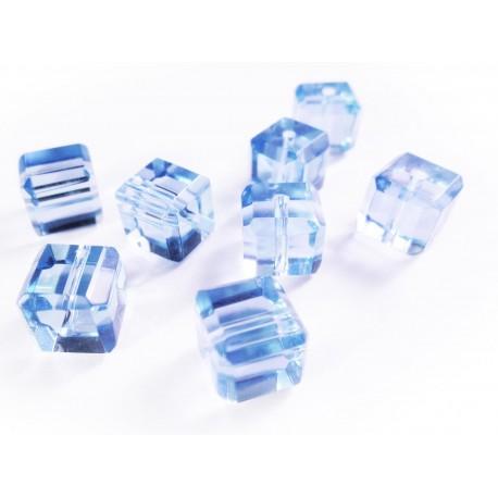 8x wasserblaue Kristallglas Würfel Perlen mit geschliffener Kante 10x10mm - Glasschmuck Schmuckzubehör