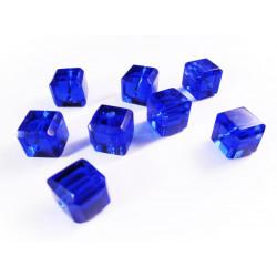 8x Kobaltblaue Kristallglas Würfel Perlen mit geschliffener Kante 10x10mm - Glasschmuck Schmuckzubehör