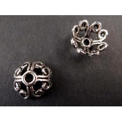 2x große Perlenkappen ca. 11x11x5mm silberfarbene filigrane Perlen Kappen - Schmuckzubehör