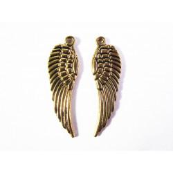 2x große gold Engelsflügel ca. 30x10mm goldfarbene Schmuckanhänger - gold Schmuckzubehör