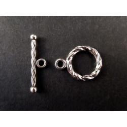 2x silberfarbener Knebelverschluss Ringdurchmesser 11mm Toggle - Schmuckzubehör Schmuckverschluss