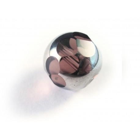 1x große 14mm Kristallglasperle amethyst silberfarben geschliffen - Schmuckzubehör Kristallglasperlen