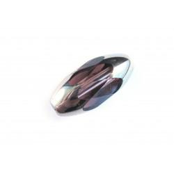 1x große 18x9mm Kristallglasperle amethyst silberfarben geschliffen - Schmuckzubehör Kristallglasperlen
