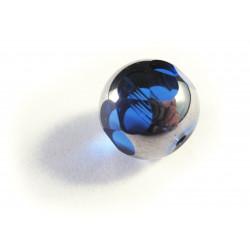 1x 14mm blaue silberfarbene geschliffene Kristallglasperle - Schmuckzubehör Kristallglasperlen