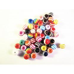 Ca. 50 bunte gestreifte Acryl Perlen 8mm Perlenmix - Acryl Schmuckzubehör